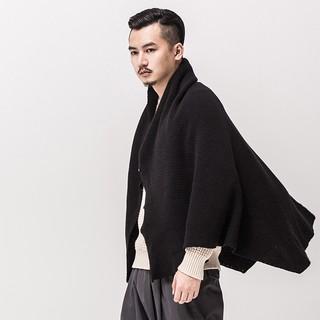 觀己 新款秋季披風男 斗篷 中長款中國風寬松外套圍巾斗篷男圍脖   蝦皮購物