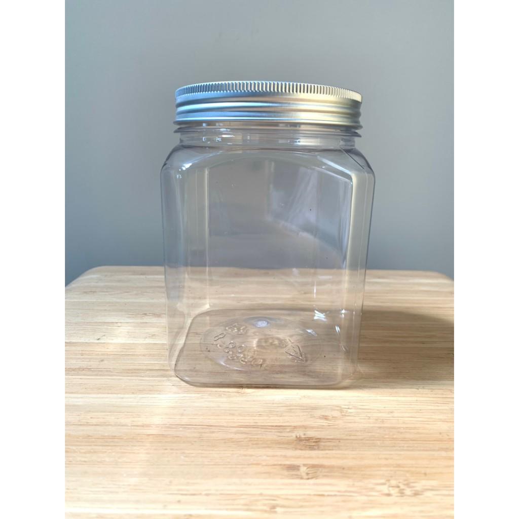 方瓶860ml 臺灣製高質感塑膠瓶 塑膠罐 廣口瓶 鋁蓋瓶 糖果罐 餅乾罐 醃製罐   蝦皮購物