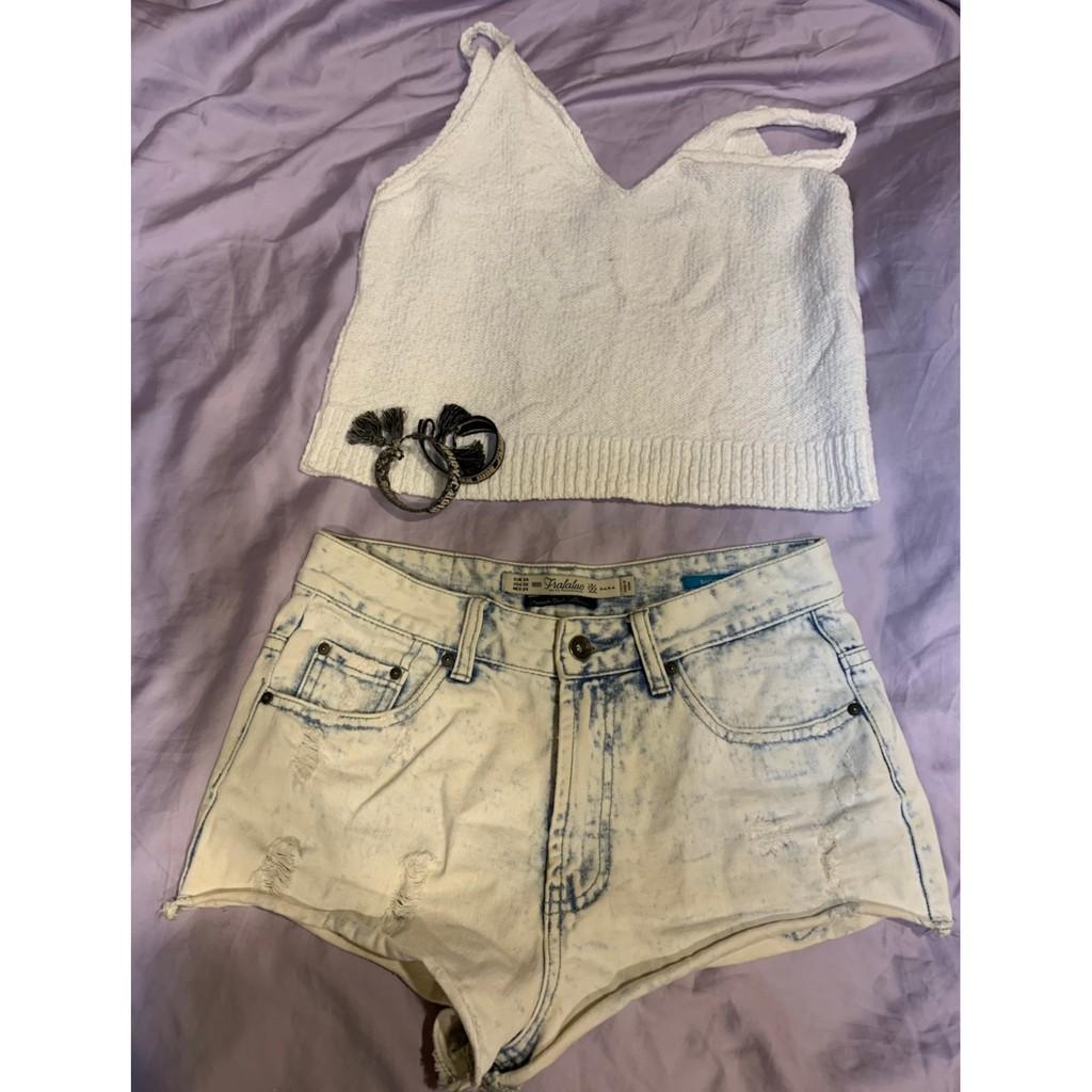 ZARA淺色牛仔短褲 | 蝦皮購物