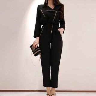 2020新品S-XL 黑色顯瘦氣質連身褲長袖拉鏈翻領高腰小腳褲連體褲正韓女生穿搭 | 蝦皮購物