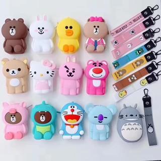 現貨 韓國正版 熊大可妮兔sally龍貓叮噹貓卡通拉鏈矽膠零錢包鑰匙耳機口紅收納手拿小包送手繩 | 蝦皮購物