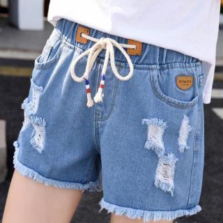 【HELLO COCO】 牛仔短褲女夏高腰學生松緊腰破洞韓版熱褲毛邊綁帶卷邊寬松闊腿褲 | 蝦皮購物