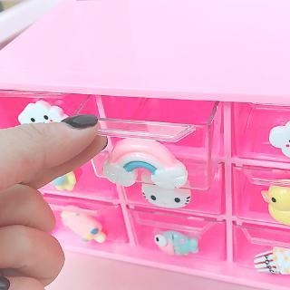 9格迷你桌面抽屜式收納盒小號儲物透明少女心首飾九宮拼豆整理櫃   蝦皮購物
