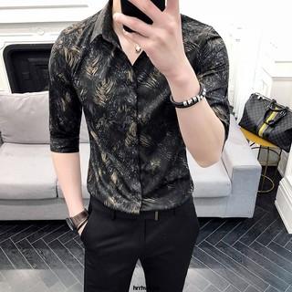 日韓簡約時尚潮流英倫風夏季型男修身型七分袖花襯衫發型師免燙中袖寸衣緊身短袖 | 蝦皮購物