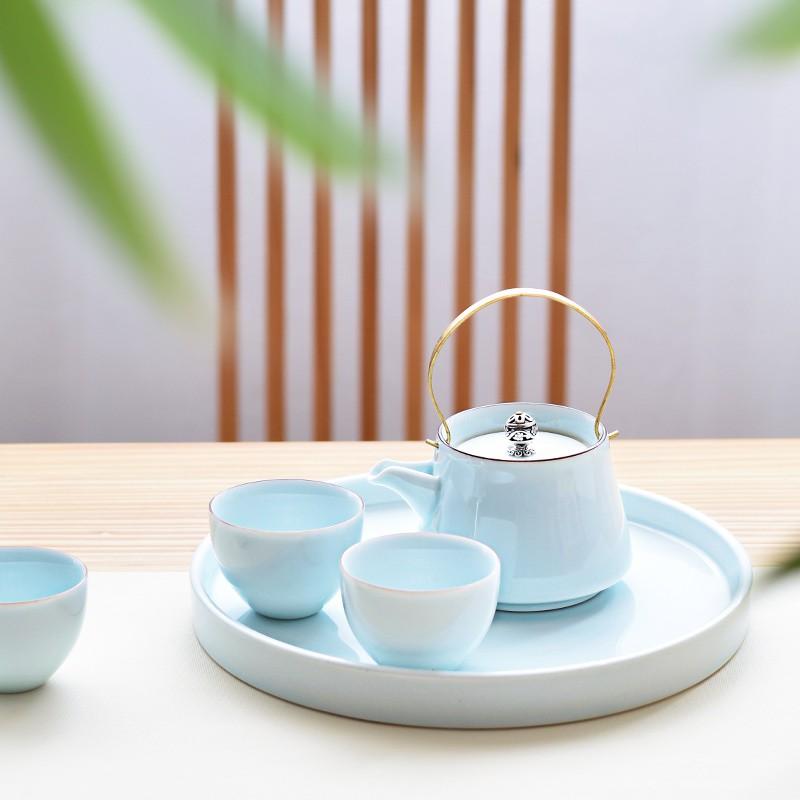 青瓷干泡功夫茶具提梁壺茶杯茶盤套裝創意家用陶瓷茶壺二杯 | 蝦皮購物