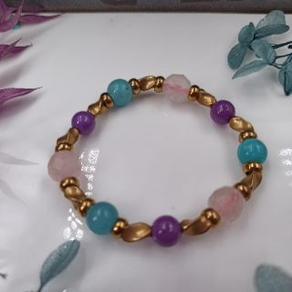 現貨/紫雲母/天河石/粉晶/黃銅/手鍊 | 蝦皮購物