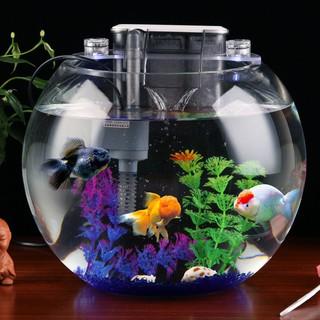 現貨熱銷 圓形玻璃魚缸透明大號加厚創意懶人免換水客廳辦公室生態圓魚缸 | 蝦皮購物