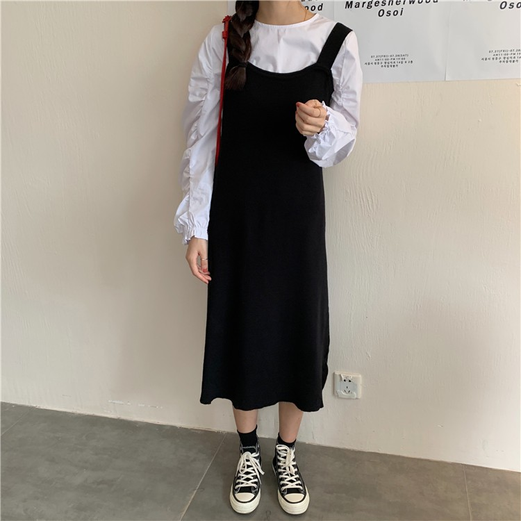 顯瘦針織吊帶裙 無袖背心裙 直筒裙 連身裙 密針織裙 白襯衫 圓領襯衫 素色襯衫 GRASS 現貨 [C9521] | 蝦皮購物