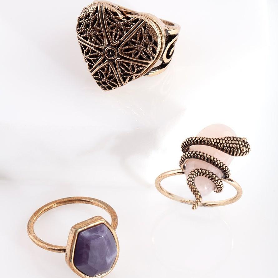 Au La La澳洲精選代購 ♡ 澳洲品牌 LOVISA ♡ 平價飾品 輕珠寶 復古波西米亞 蛇 愛心大理石戒指三件組   蝦皮購物