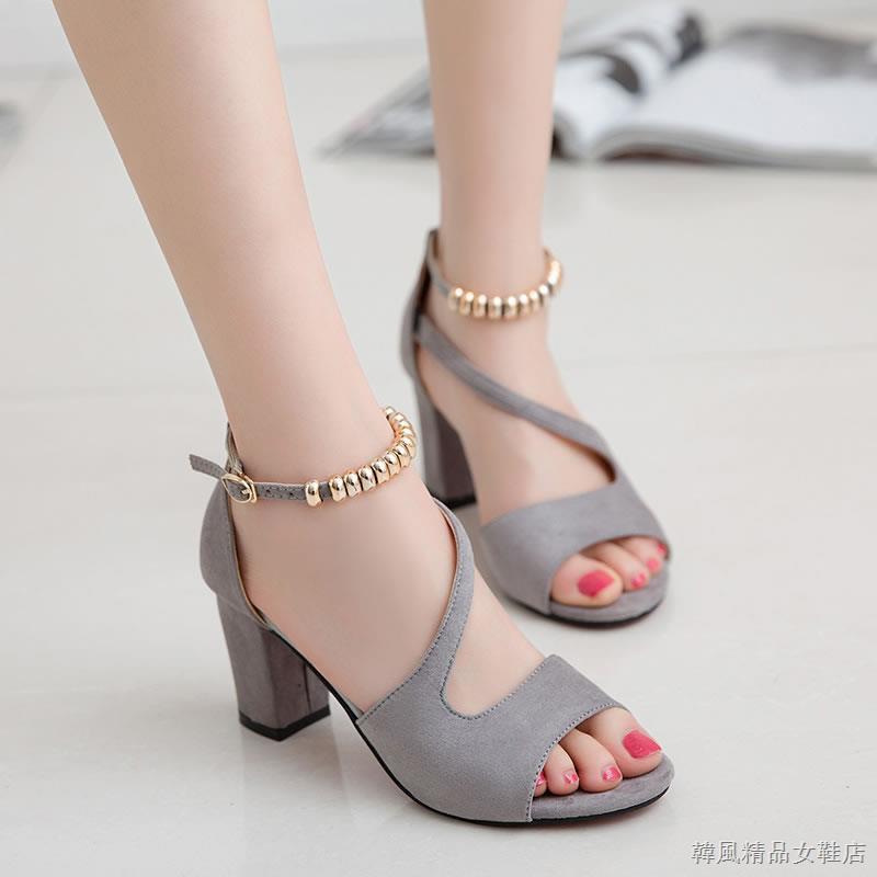 現貨 夏季女生韓版高跟性感涼鞋 2020夏季新款一字扣粗跟中跟涼鞋女夏天韓版高跟鞋性感魚嘴女鞋子 | 蝦皮購物