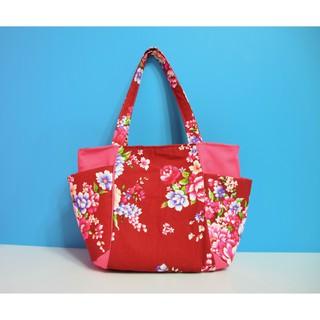 手提袋 肩背 客家花布 臺灣花布 手提袋 手提包 包包 袋子 復古 牡丹花 手工 手作 設計 訂製 客製化 | 蝦皮購物