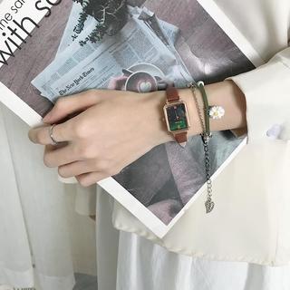 法國小眾手錶女士女式細皮帶小學生韓版簡約復古氣質ins森風格文藝綠色手錶   蝦皮購物