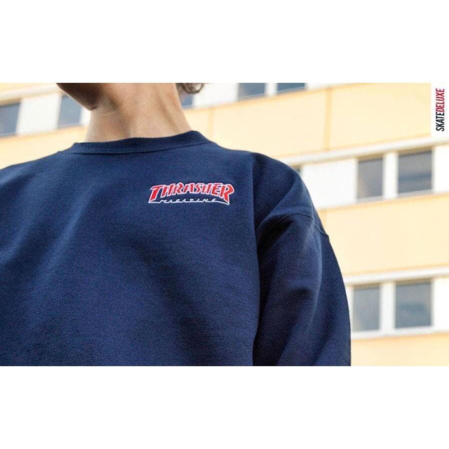 Renga // Thrasher Embroidered Outlined 內刷毛大學T   蝦皮購物