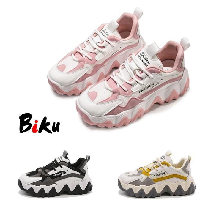 2020春品 美爆韓系5CM皮面透氣厚底老爹鞋 軟底彈力休閒運動鞋-BIKU/B酷 | 蝦皮購物