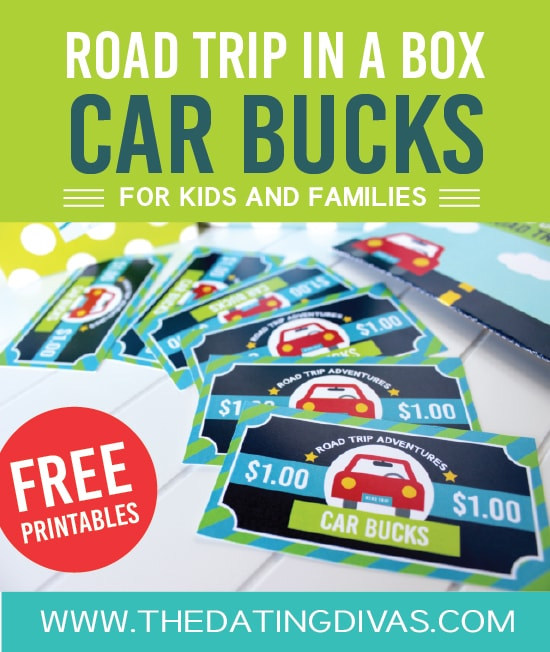 "Road Trip in a Box Car Bucks Printables | The Dating Divas ""These easy-to-use Car Bucks are the PERFECT way to reward good behavior while driving! Your kids can trade in their Car Bucks for small on the road prizes (ex: a car snack, a coloring book & crayons.."""