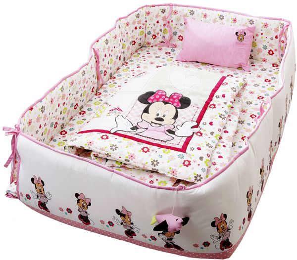 Disney Minnie Mouse Printed Baby Bedding 4 Piece Set Pink