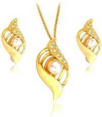 22K Gold Plated Pearl and Rhinestone Jewelry Set, 2 Piece ...