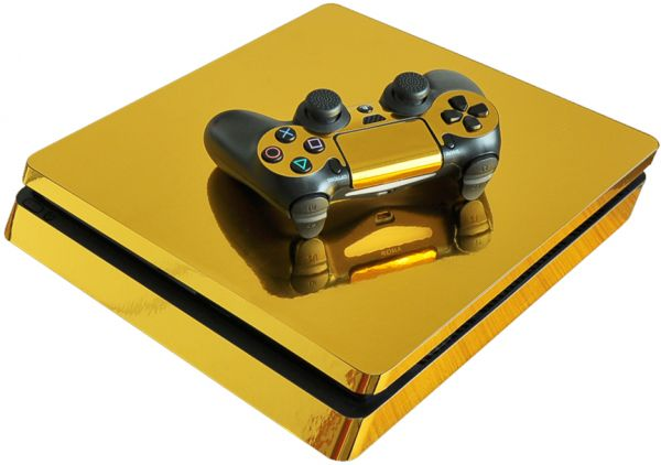 Gold Mirror Chrome Playstation 4 Slim Vinyl Skin Sticker