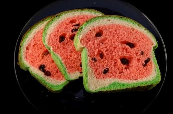 Foodista  Stunning Watermelon Look Alike Raisin Bread
