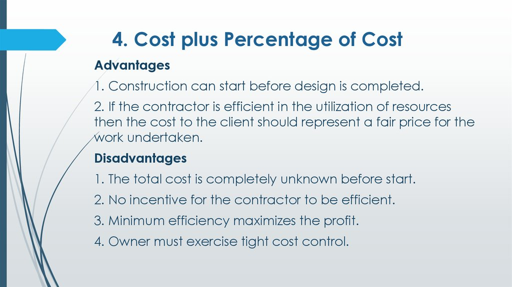 Cost accounting is defined as a systematic set of procedures for recording and reporting measurements of the cost of manufacturing goods and performing services in the aggregate and in detail. Construction contracts - презентация онлайн