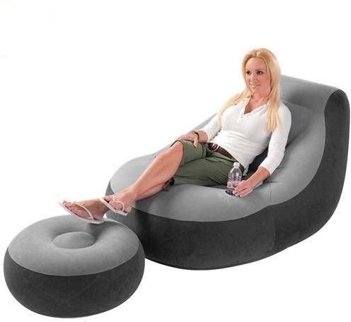 intex air chair high mat inflatable sofa with footrest flocked 68564 souq uae