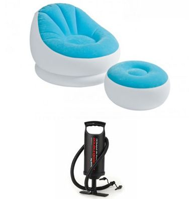 beanless sofa air chair gray sectional costco intex 68572 inflatable bag blue with manual pump 170 00 sar