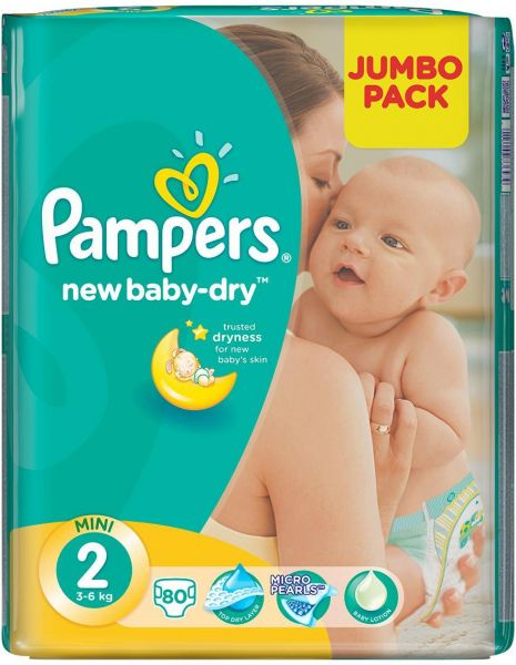 Pampers Baby Dry Diapers Size 2 Jumbo Pack 36 kg 80