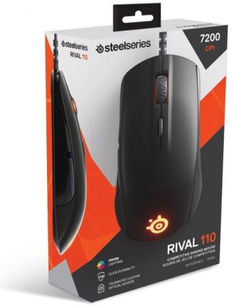 SteelSeries Rival 110, Custom TrueMove1, 7,200 CPI, 240 IPS, Prism RGB, Optical Gaming Mouse