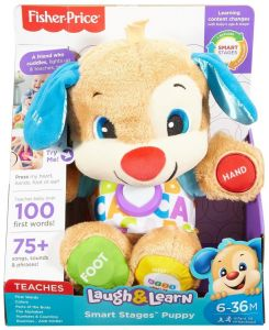fisher price laugh and learn chair pink wine barrel rocking buy smart stages puppy 24 36 months