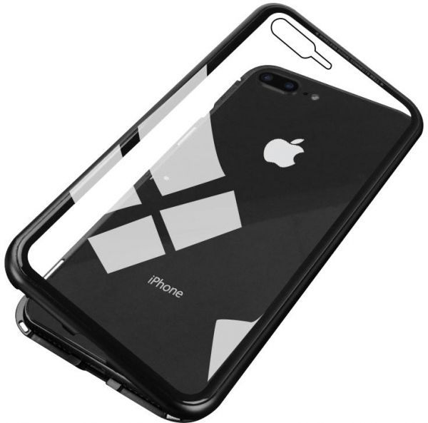 Caseier Ultra Magnetic Phone Case For Iphone 7 Plus Iphone 8 Plus Luxury Glass Cover Case Mobile Phone Accessories Black