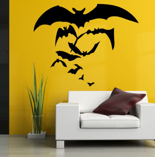 bat living room small end tables for canada halloween wall decals scary flying stickers boys bedroom vinyl art decor