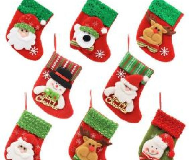 Inch Mini Christmas Stockings Craft Red Socks Christmas Decorations Gift Treat Bags For Children Kids Rustic Ornaments Santa Snowman Star Green