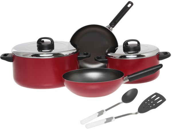 kitchen pan set the home and store prestige aluminum non stick cookware of 8 piece red pr20984 41 off