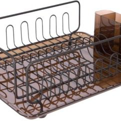 Kitchen Drying Rack Island With Trash Storage Interdesign Forma Dish Tray Drainer For Glasses Silverware And Dishes Amber Bronze