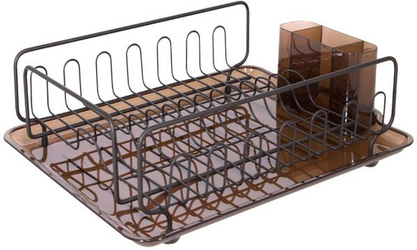 kitchen drying rack affordable kitchens interdesign forma dish with tray drainer for glasses silverware and dishes amber bronze