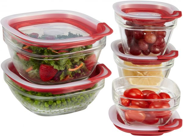 rubbermaid kitchen storage containers cabinets tucson easy find lids glass food racer red 10 piece set 1812453