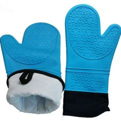 Kitchen Mittens Cool Faucets Quilted Cotton Lined Silicone Gloves Heat Resistant Set Of 2