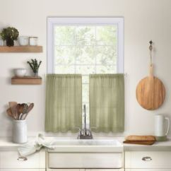 Cafe Kitchen Curtains Banquette Elrene Home Fashions 026865775396 Solid Hemstitched Rod Pocket Tier Window Curtain Set Of 2 30 X 36 Sage Souq Uae