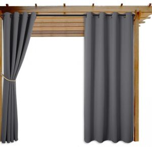 nicetown patio door curtains grey thermal insulated blackout outdoor indoor window drapes gray 1 piece 130cm wide by 240cm long