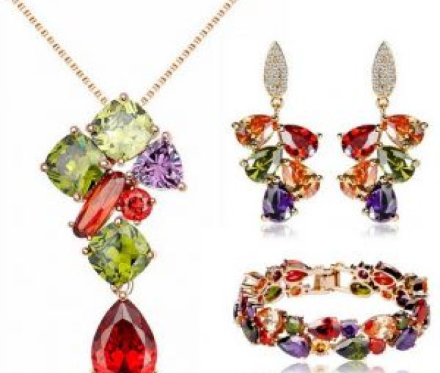 Swarovski Elements Unique Three Piece Jewelry Set Valentines Day Gift Necklace Earrings Set Jint