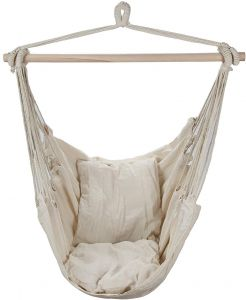 hanging chair jeddah ikea wood sale on indoor amscan lowha shimmer and shine ksa rope hammock porch swing seat sky with cushions for any or outdoor spaces beige