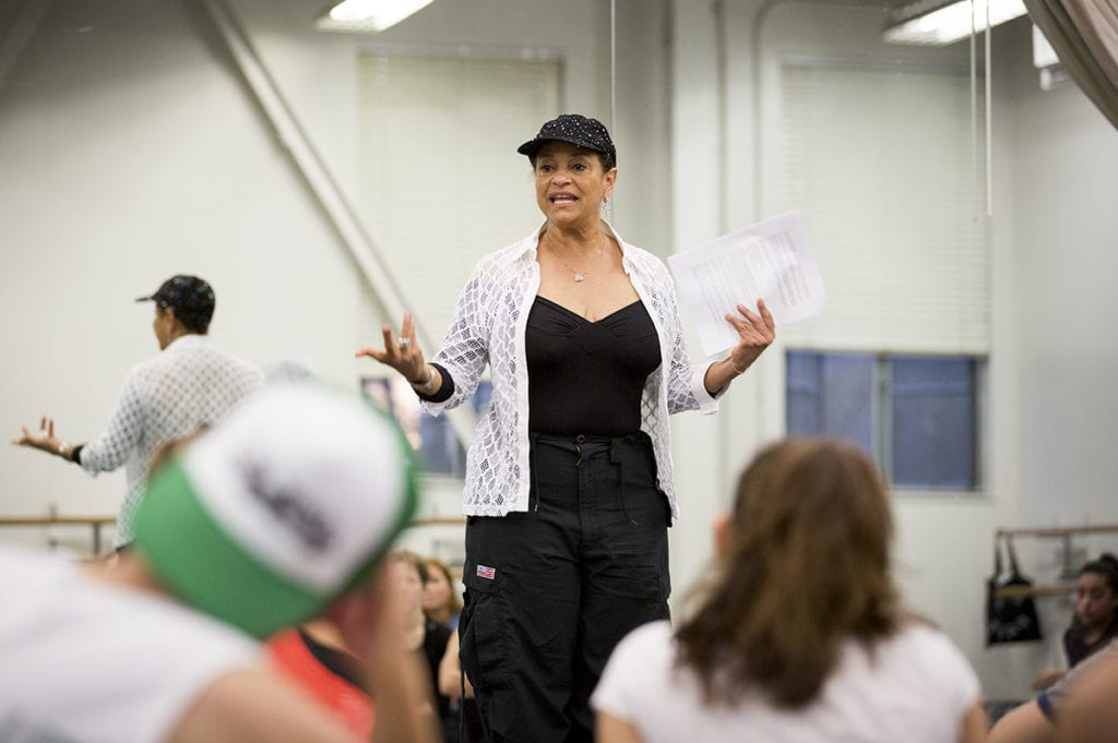 Debbie Allen speaks to students