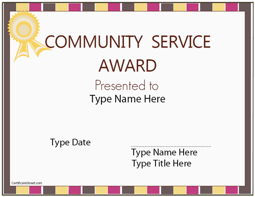 community service certificate template - Community Service Hours Certificate Template