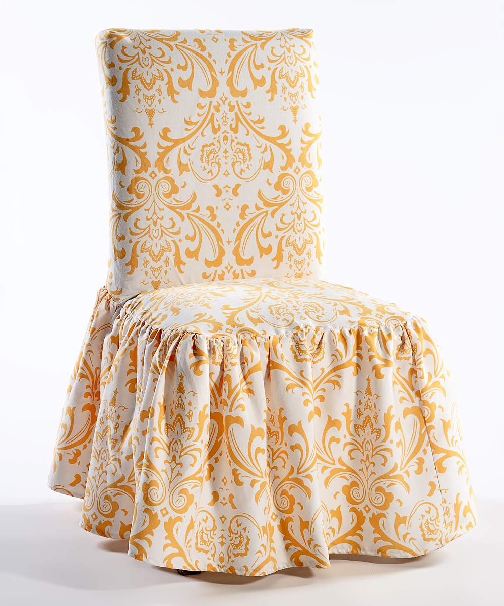 Damask Dining Chair Classic Slipcovers Yellow Microfiber Ruffled Damask Dining Chair Slipcover