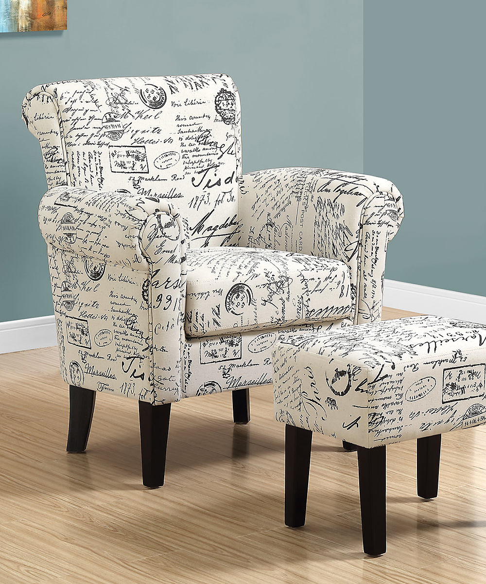 Script Chair Monarch Specialties Beige French Script Accent Chair Ottoman