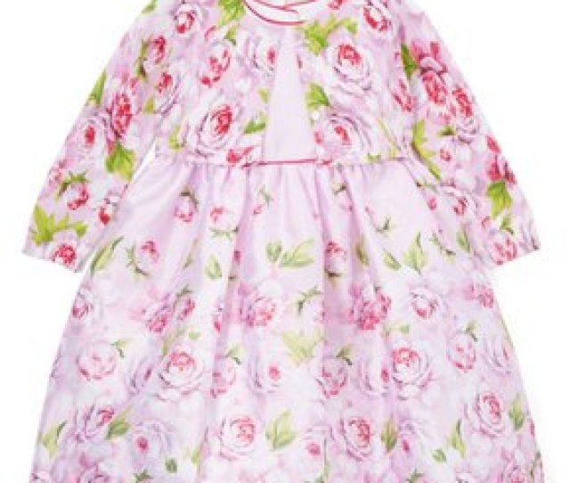 Laura Ashley Lilac Floral A Line Dress Sweater Infant Toddle
