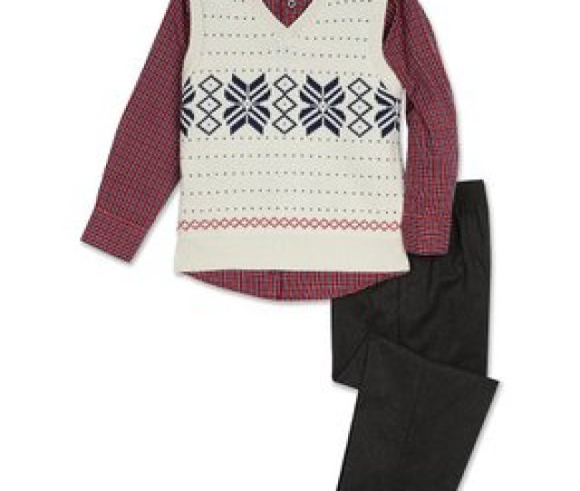 Tfw Cream Snowflake Sweater Vest Set Toddler Boys