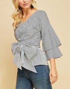 Navy stripe layered sleeve wrap top women also entro zulily rh