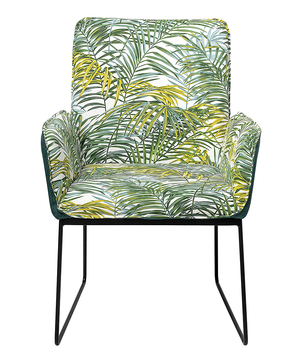 Green Upholstered Chair Green Palm Leaf Upholstered Chair
