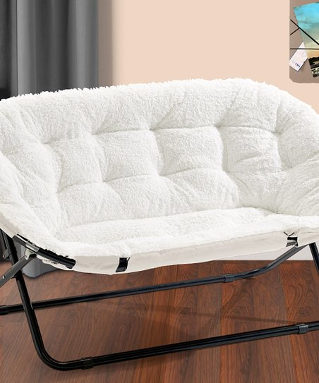 double saucer chair black outdoor wicker with ottoman white sherpa zulily